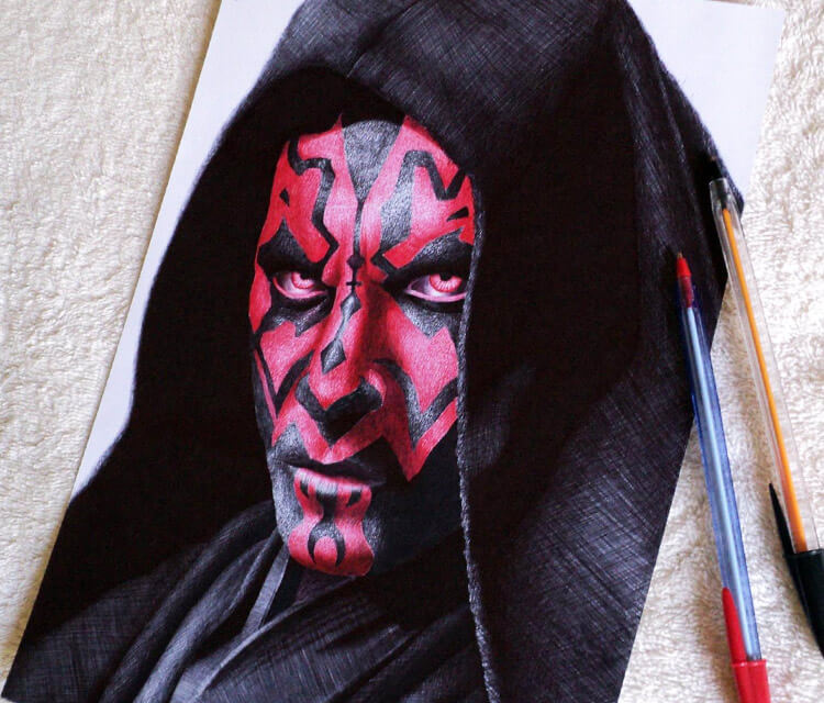 Darth Maul pen drawing by Guilherme Silveira