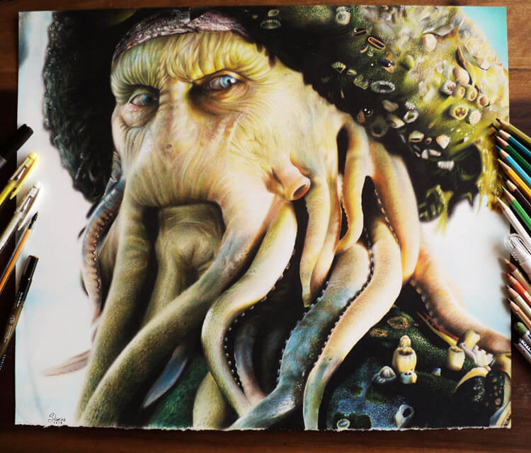 Davy Jones color drawing by Guilherme Silveira
