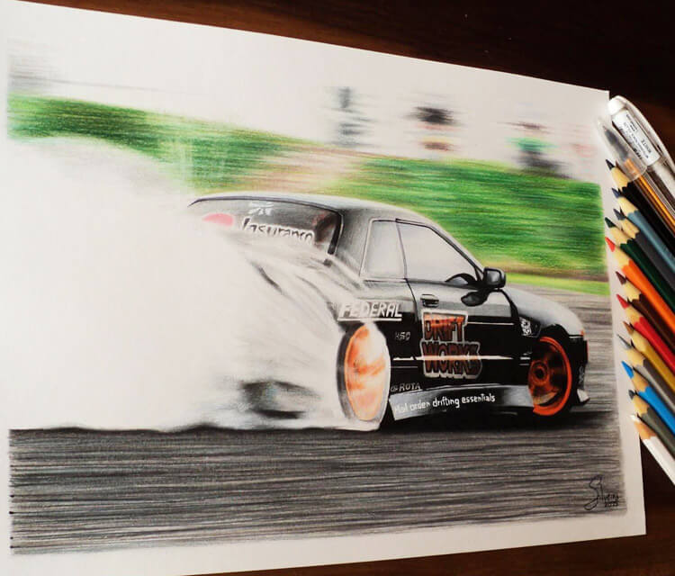 Drifting car drawing by Guilherme Silveira