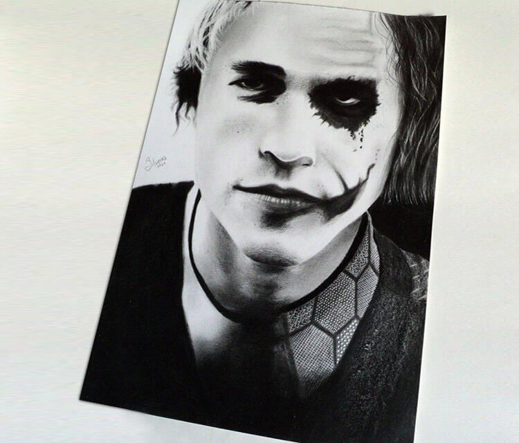 Heath Ledger Joker drawing by Guilherme Silveira