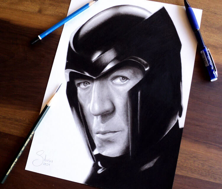 Magneto portrait drawing by Guilherme Silveira