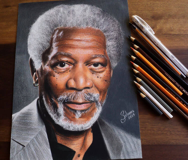 Morgan Freeman portrait drawing by Guilherme Silveira