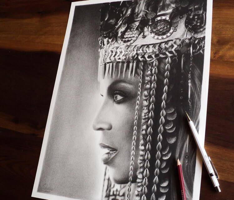 Portreit of Beyoncé drawing by Guilherme Silveira
