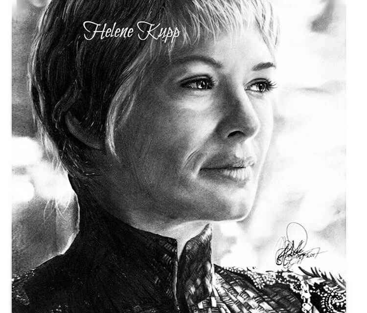 Cersei Lannister pencil drawing by Helene Kupp