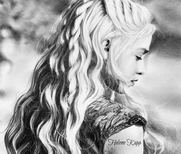 Daenerys Targaryen drawing by Helene Kupp
