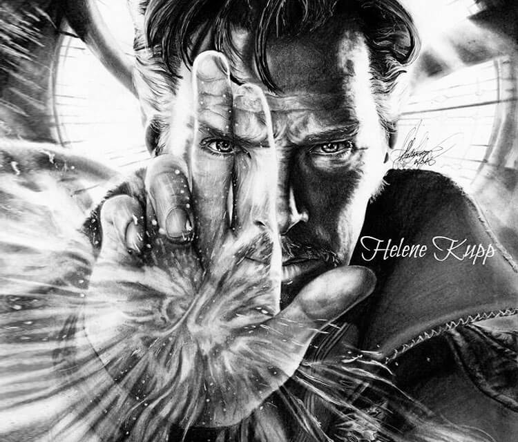 Doctor Strange pencil drawing by Helene Kupp