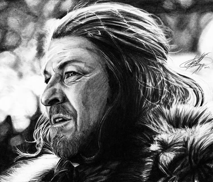Eddard Stark drawing by Helene Kupp
