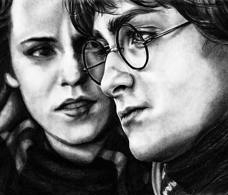 Harry and Hermiona drawing by Helene Kupp