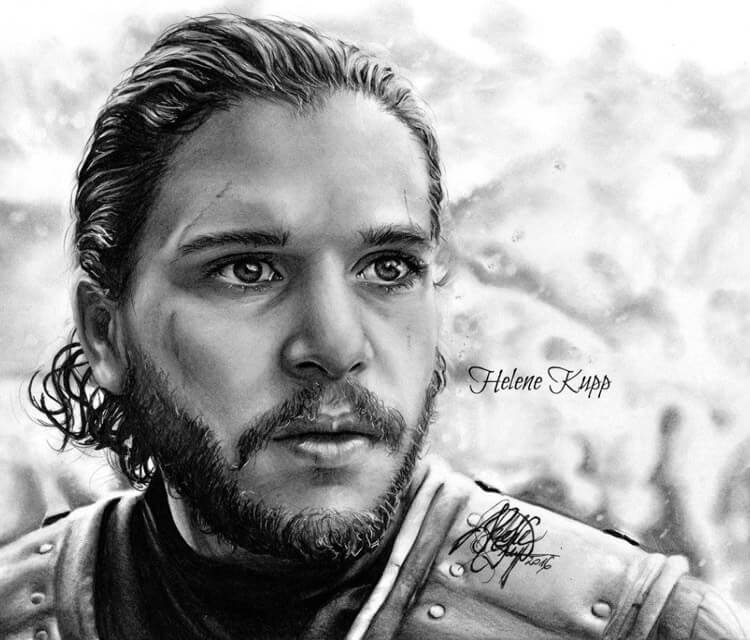 Jon Snow pencil drawing by Helene Kupp
