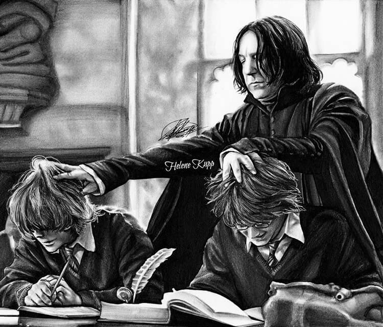 Severus Badass Snape pencil drawing by Helene Kupp