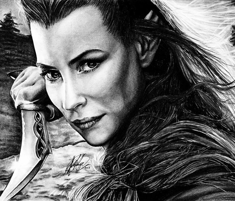 Tauriel from Hobbit drawing by Helene Kupp