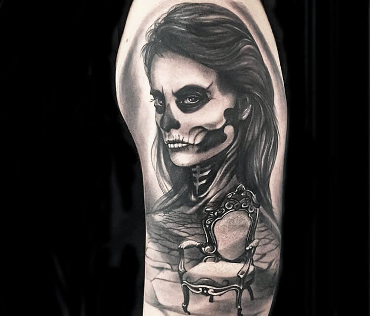 Black muerte tattoo by Ivan Trapiani