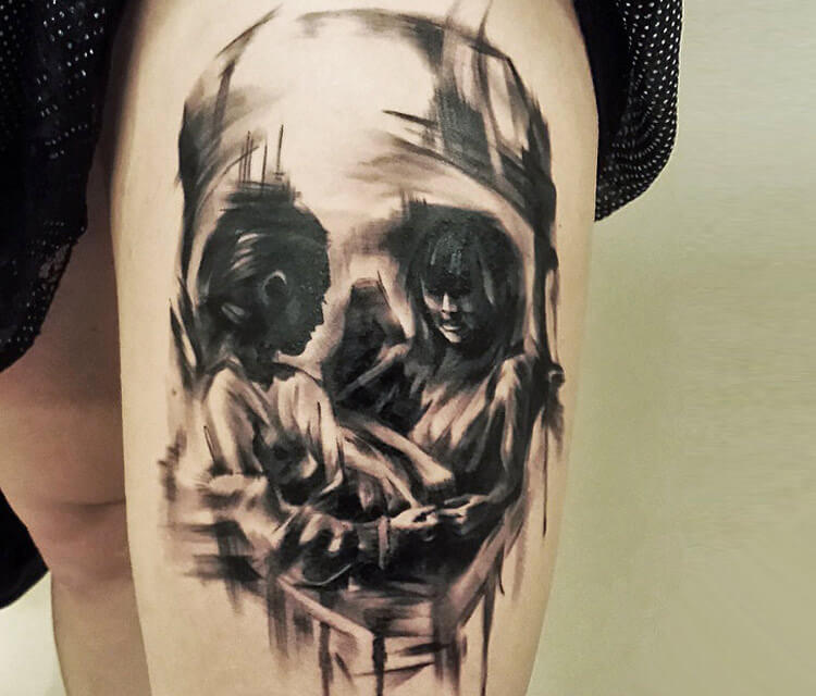 Skull 2 tattoo by Ivan Trapiani