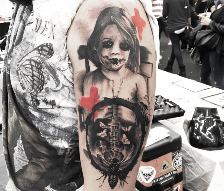 Trash face tattoo by Ivan Trapiani