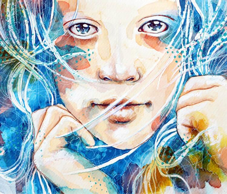 A dreaming moment mixedmedia by Jane Beata Lepejova