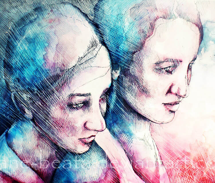 Almost sisters watercolor painting by Jane Beata Lepejova