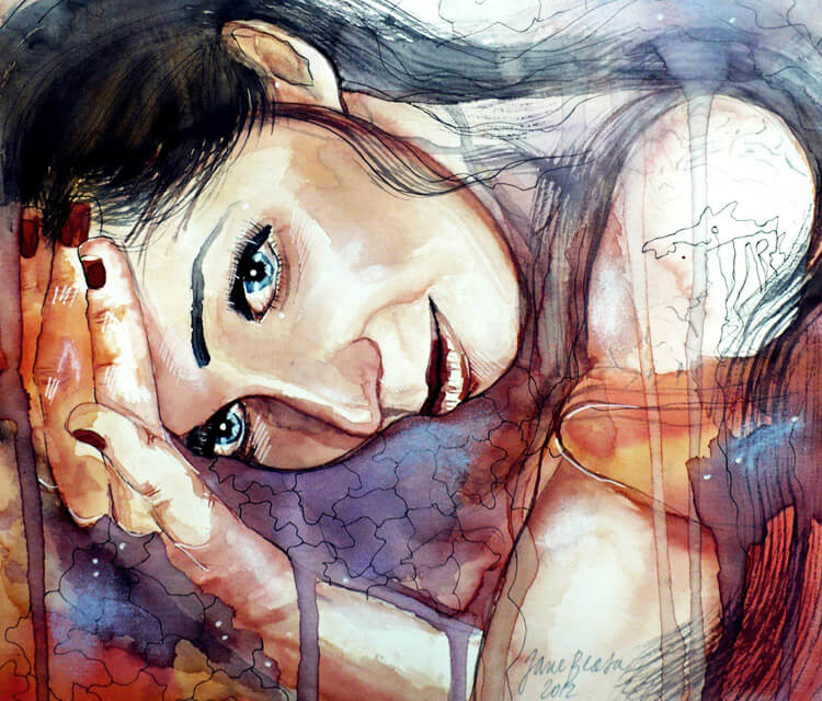 Different watercolor painting by Jane Beata Lepejova