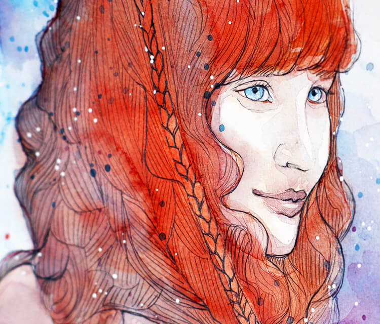 Fiery watercolor painting by Jane Beata Lepejova