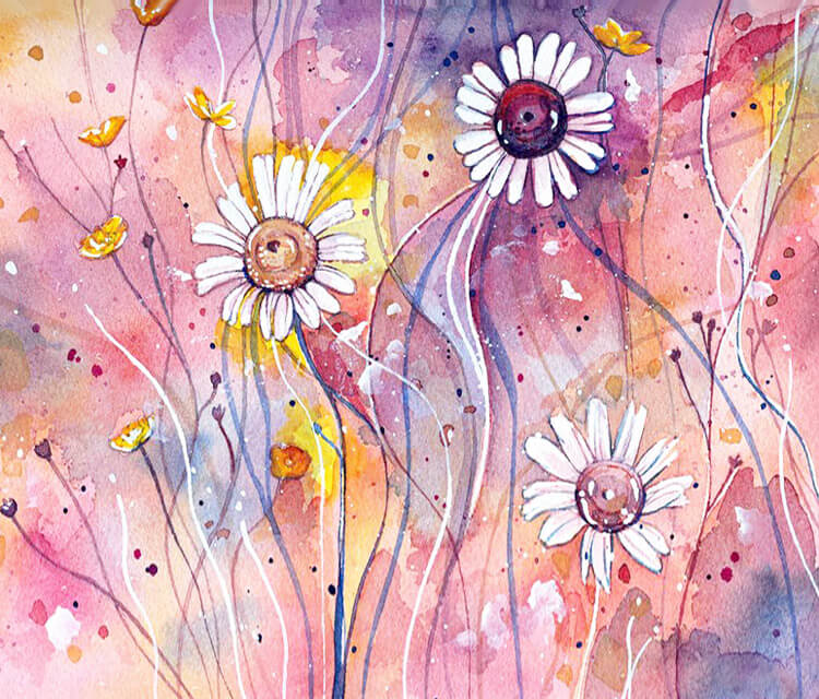 Flower study watercolor painting by Jane Beata Lepejova