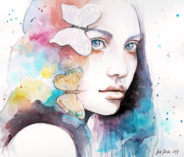 Lady with a Butterfly watercolor painting by Jane Beata Lepejova