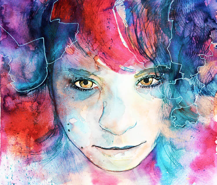 Portrait of a Fighter watercolor painting by Jane Beata Lepejova
