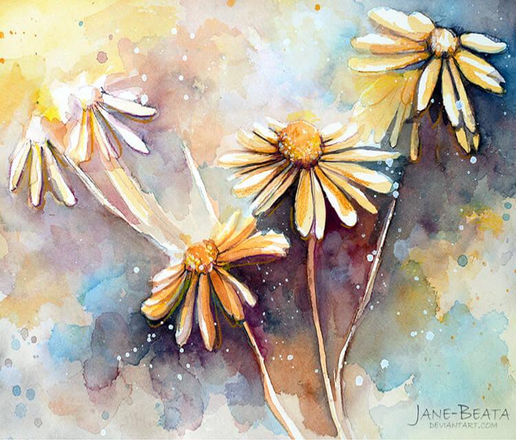 Purple dream garden watercolor painting by Jane Beata Lepejova