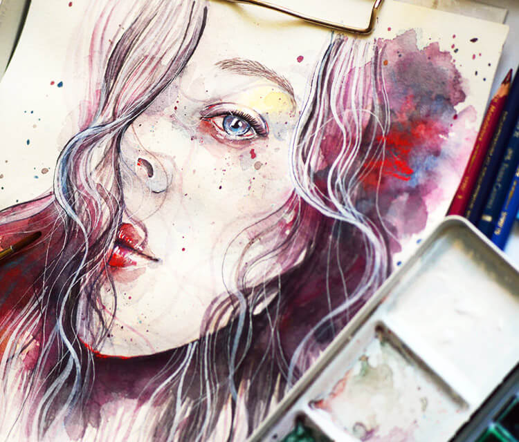 Work in progress.jpg watercolor painting by Jane Beata Lepejova