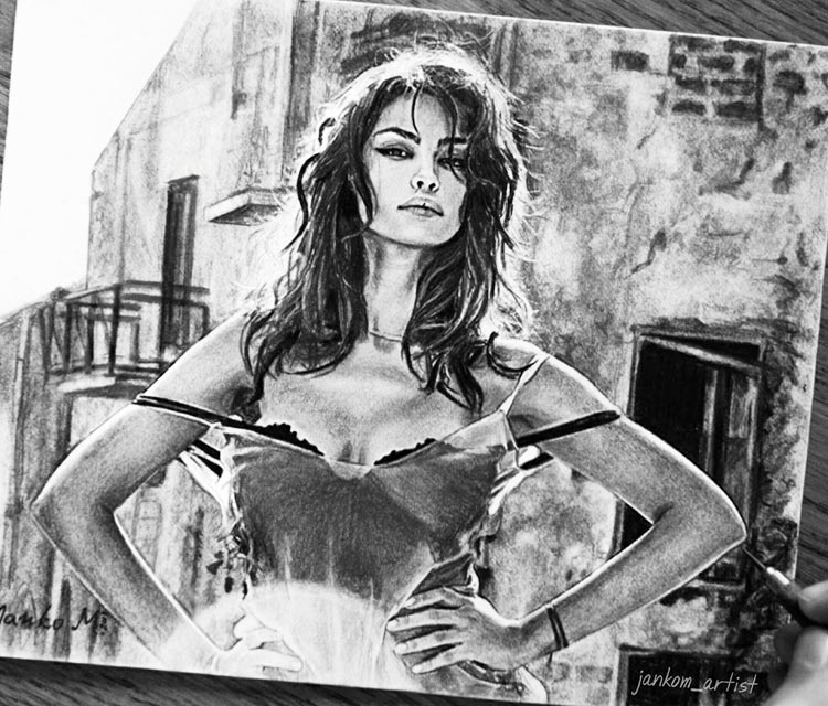 Madalina Diana Ghenea pencil drawing by Janko Maslovaric