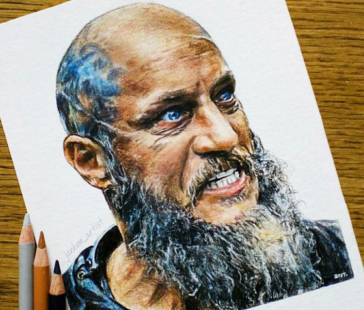 Ragnar Lothbrok pencil drawing by Janko Maslovaric