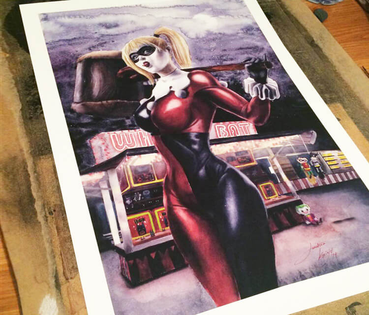 Harley quinn painting by Jonathan Knight Art
