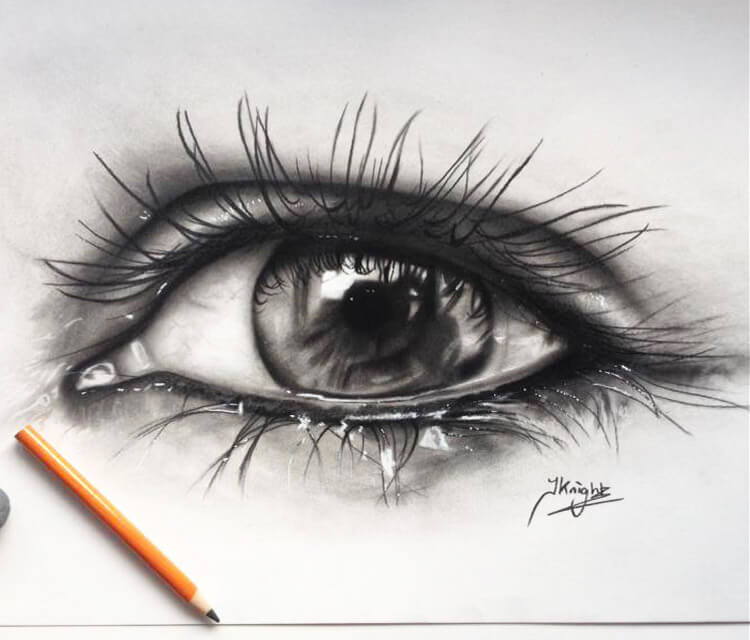Black eye drawing by Jonathan Knight Art