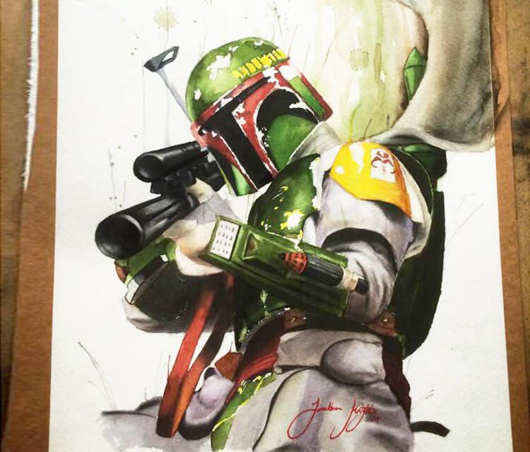 Boba Fett from Star Wars painting by Jonathan Knight Art