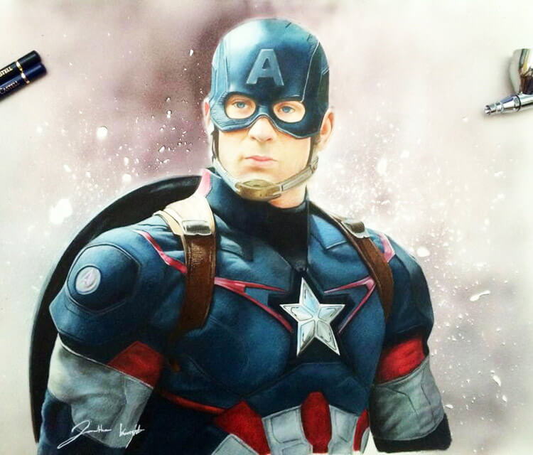 Captain America airbrush by Jonathan Knight Art