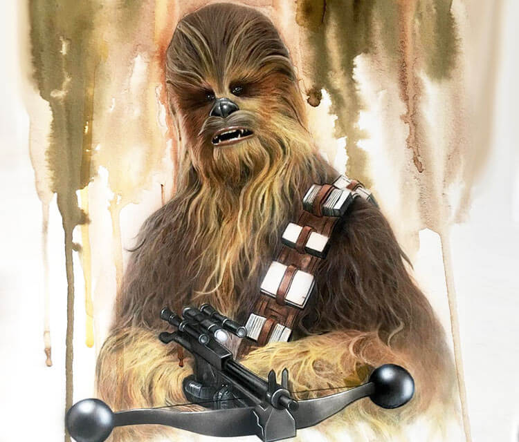 Chewbacca watercolor painting by Jonathan Knight Art