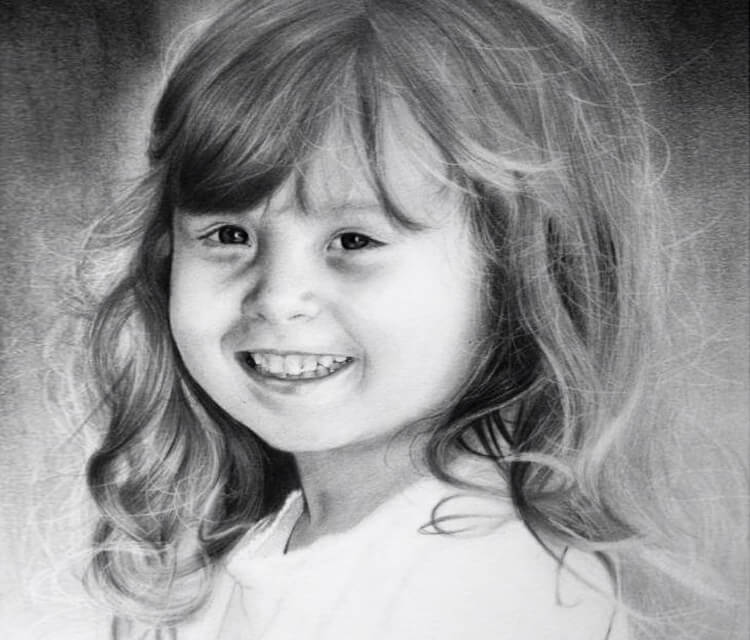 Child portrait drawing by Jonathan Knight Art