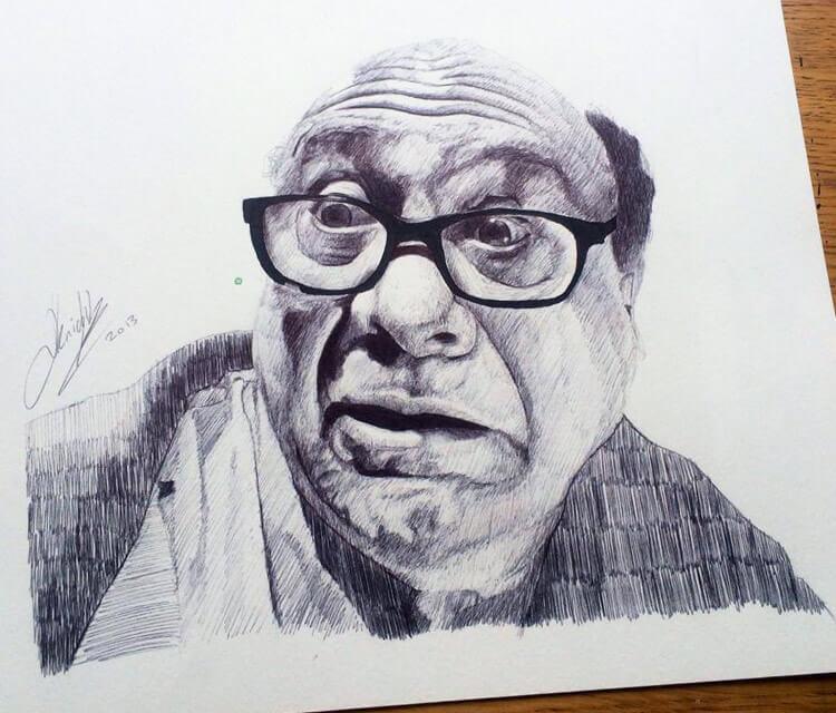 Danny DeVito portrait sketch by Jonathan Knight Art