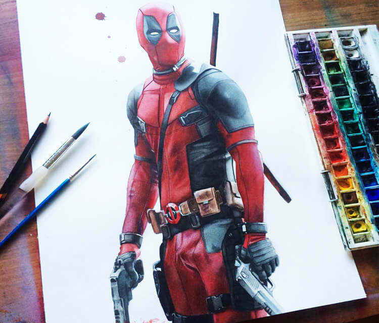 Deadpool color drawing by Jonathan Knight Art