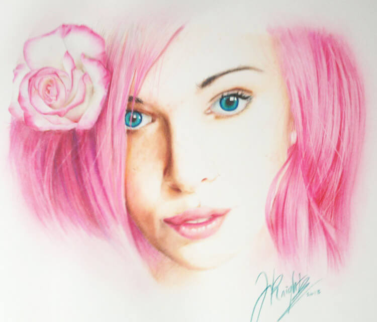 Flower girl color drawing by Jonathan Knight Art