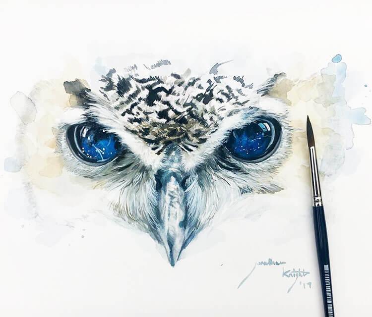 owl painting by jonathan knight art no 3040