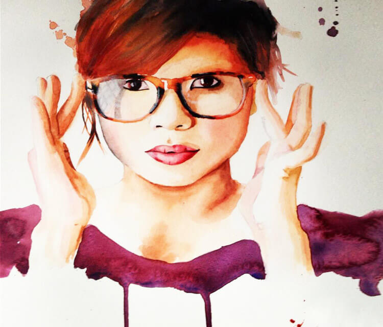 Girl with glasses painting by Jonathan Knight Art