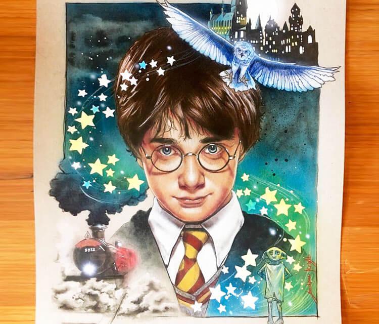 Harry Potter illustration by Jonathan Knight Art