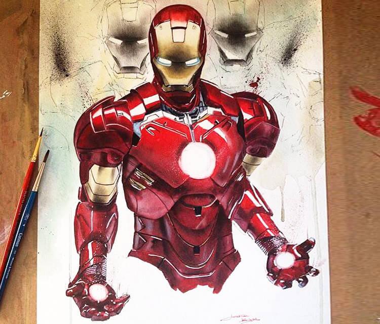 Iron Man painting by Jonathan Knight Art