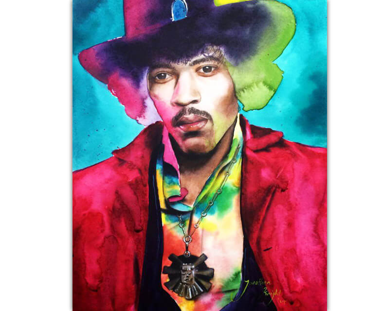 Jimi Hendrix portrait painting by Jonathan Knight Art