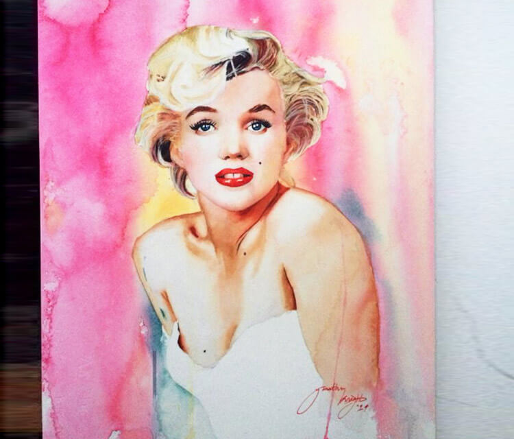 Marilyn Monroe watercolour painting by Jonathan Knight Art