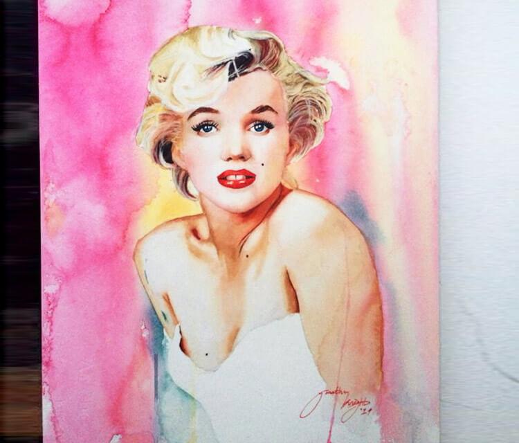 Marilyn Monroe watercolour painting by Jonathan Knight Art