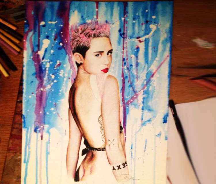 Miley Cyrus painting by Jonathan Knight Art
