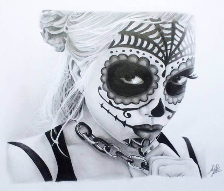 Muerte drawing by Jonathan Knight Art