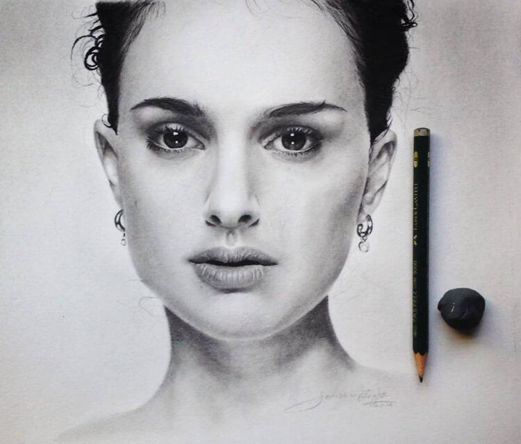 Natalie Portman portrait drawing by Jonathan Knight Art