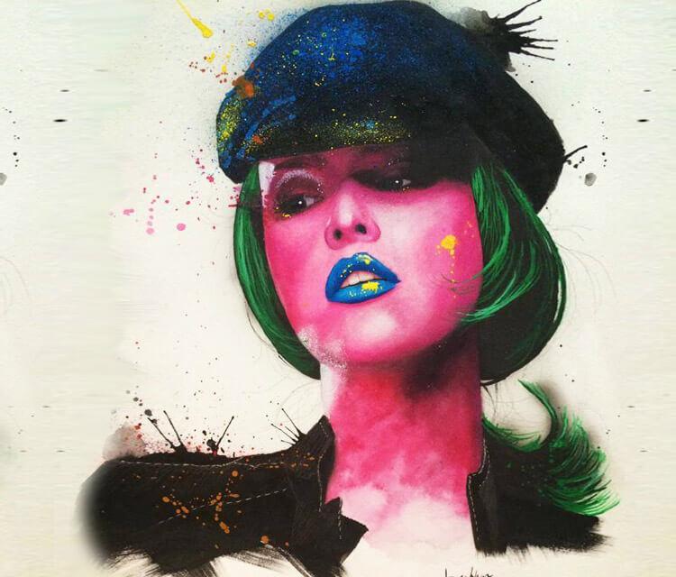 Pink Woman mixedmedia by Jonathan Knight Art