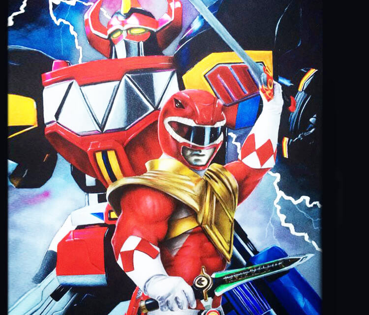 Red power Ranger painting by Jonathan Knight Art